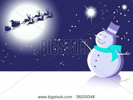 Snowman and Santa Blue