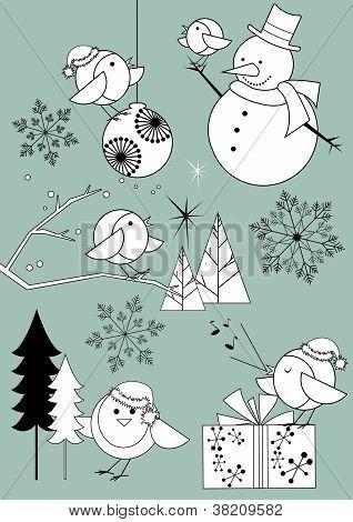 Christmas Robins Black and White Set
