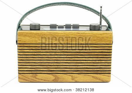 Old radio in vintage style on a white background