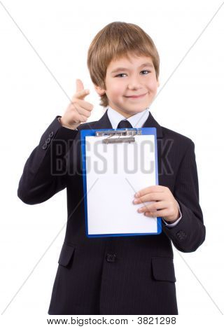 Boy With A Board For Write, Isolated Over White