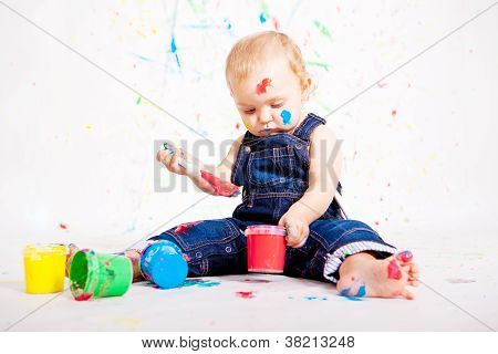Cute Little Baby Painting And Splatter With Colours