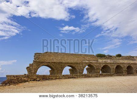 Ancient Roman Aqueduct At Ceasarea