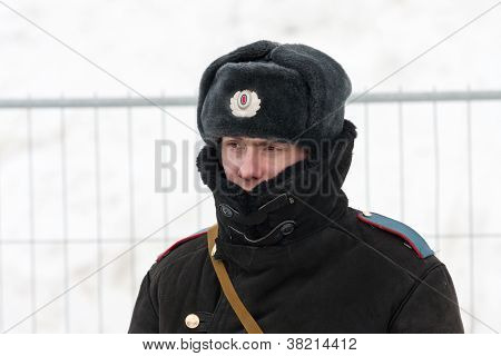 Samara, Russia - March 6:russian Policeman In Winter Wear On March 6, 2012 In Samara, Russia