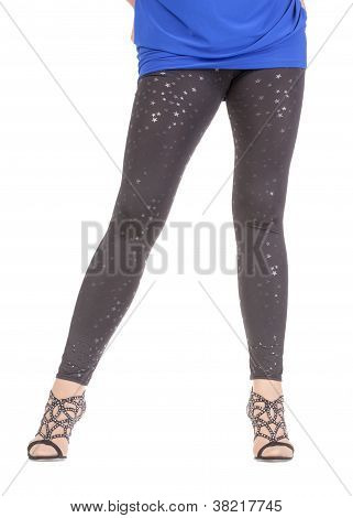 Sexy Stylish Legs In Shimmering Black Leggins