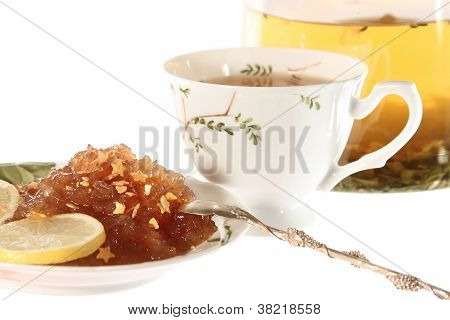 Tea With Apple Marmalade Or Jam Isolated
