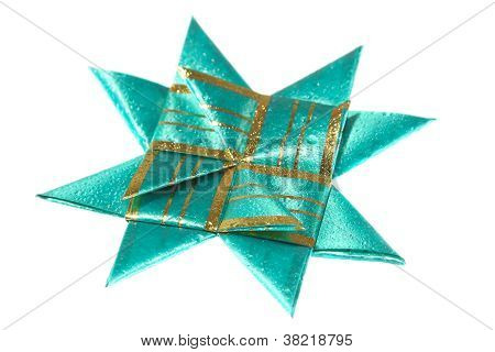 Green Origami Star From Ribbon