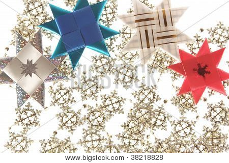 Origami Star Postcard On The Snowflake Garland