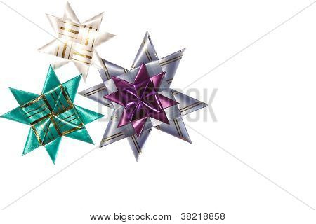 Three Origami Stars From Ribbon
