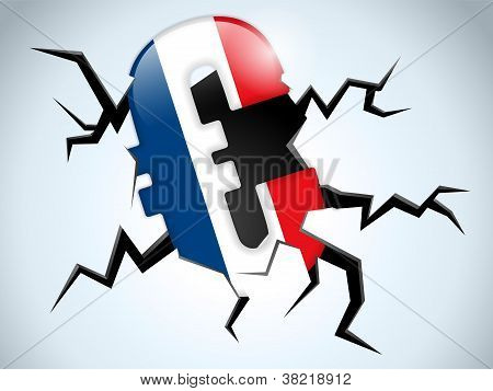 Euro Money Crisis France Flag Crack On The Floor