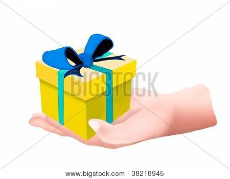 Hands Hoding And A Decorative Yellow Gift Box