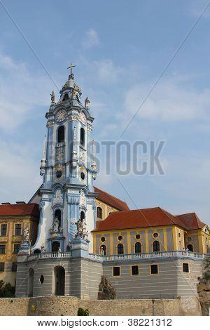 The beautiful Durnstein  abbey from the Danube River Wachau Region, Lower Austria