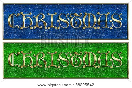 Golden Christmas On Glass Background Pair