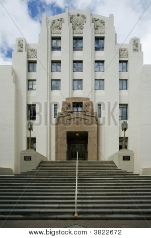 Art Deco Building With Entry Stairway