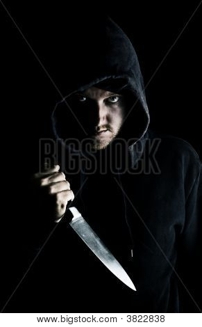 Intimidating Male With Knife