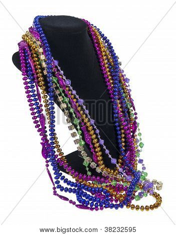 Mardi Gras Beads On A Neck Form