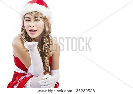 Beautiful Mrs Claus Giving Christmas Greeting Isolated In White