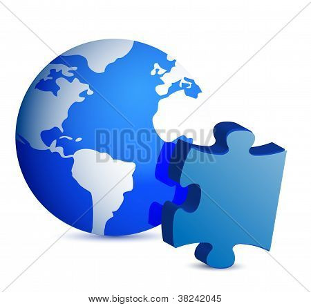 Globe And Puzzle Piece