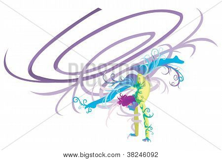 Gymnastic Performer With Abstract And Fantasy Concept (ribbon)