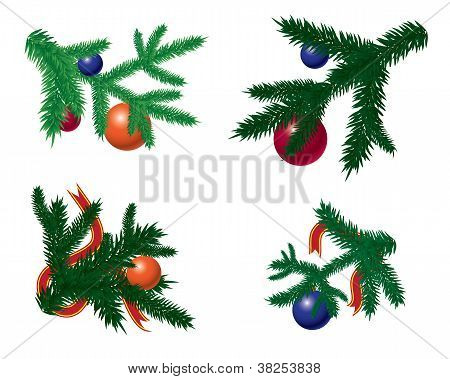 Set Of Fir Branches With Baubles