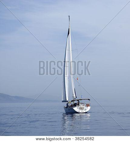 Yacht On The Mediterranean Sea .