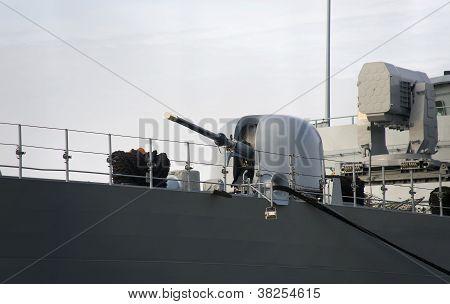 Ship Gun And Modern, Military Ship Radar.