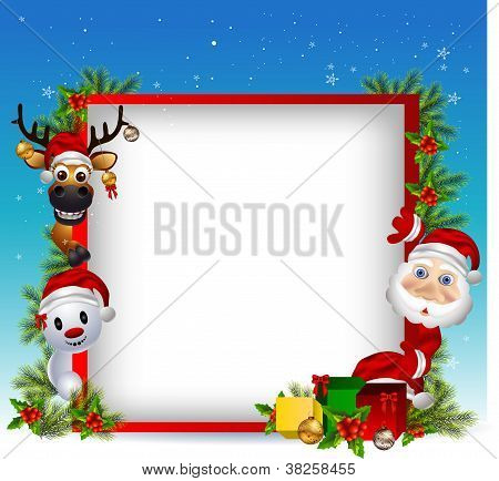 vector illustration of santa claus ,deer and snowman with blank sign