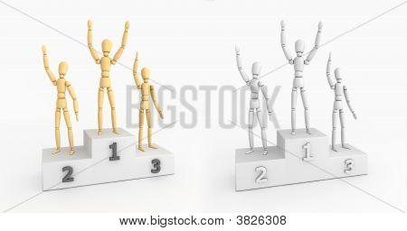 Victory Podium - Waving Winners