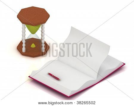 Sand Clock, Open A Blank Book And Pen