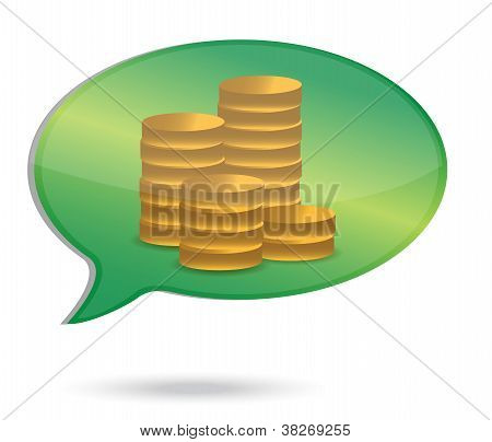 Thinking In Money Coins Illustration
