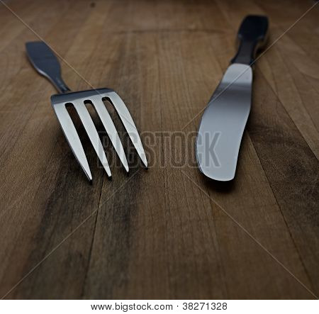 Knife And Fork On Countertop