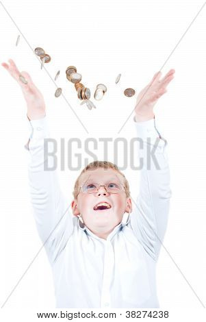 Boy catches coins