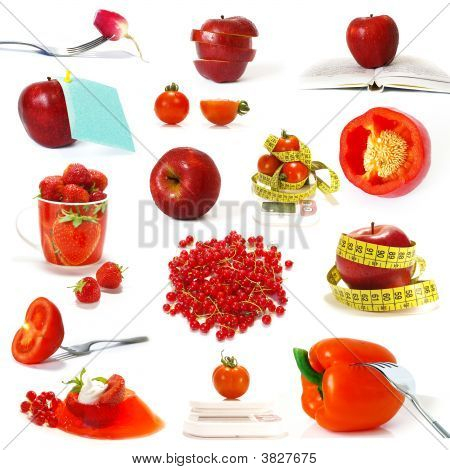 Collection Of Red Fruits And Vegetables