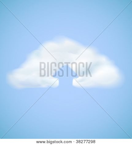 Cloud computing icon with arrow upload