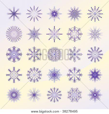 Set Of Violett Snowflakes.eps