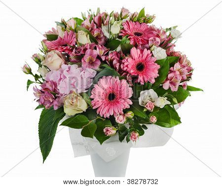 Colorful Floral Bouquet Of Roses, Lilies And Orchids Arrangement Centerpiece In Vase Isolated On Whi