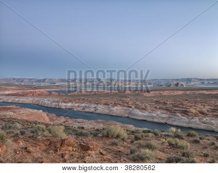 Mountain Range And River With Clear Sky In Background