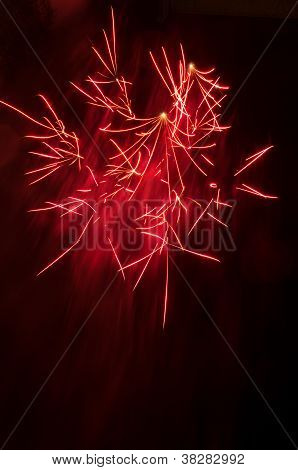 Red Fireworks Burst With Copy Space