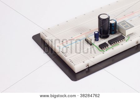Electrical Circuit On Breadboard On Isolated White Background