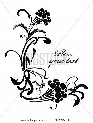 Black and white background with wild ash