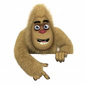 image of bigfoot  - 3 d cartoon cute brown bigfoot monster - JPG
