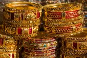 picture of bangles  - Traditional Indian bangles with different colors and patterns - JPG