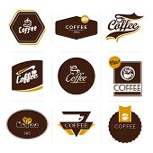 stock photo of latte coffee  - Collection of retro styled coffee labels frames and badges - JPG