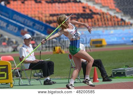 DONETSK, UKRAINE - JULY 13: Alysha Burnett of Australia competes in the javelin throw in Heptathlon girls during 8th IAAF World Youth Championships in Donetsk, Ukraine on July 13, 2013