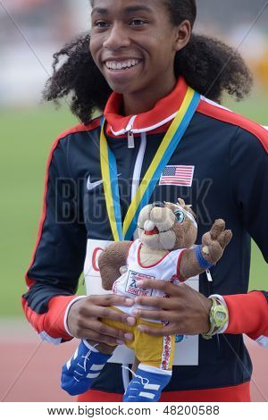 DONETSK, UKRAINE - JULY 13: Olivia Baker of USA win silver in 400 metres during 8th IAAF World Youth Championships in Donetsk, Ukraine on July 13, 2013