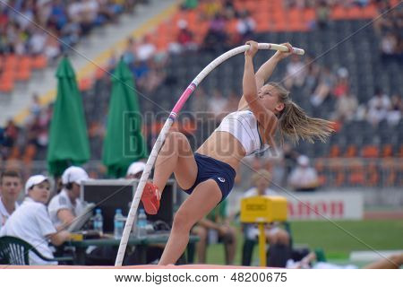DONETSK, UKRAINE - JULY 13: Mallaury Sautereau of France competes in the final of pole vault during 8th IAAF World Youth Championships in Donetsk, Ukraine on July 13, 2013