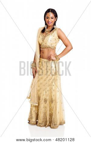beautiful hindu woman in traditional clothing on white background