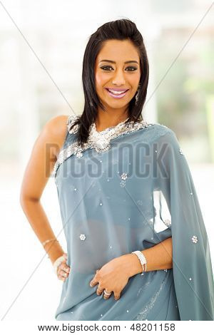 portrait of happy indian woman in saree