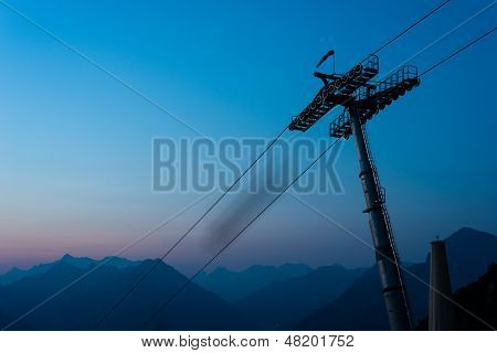 ropeway  at sunrise