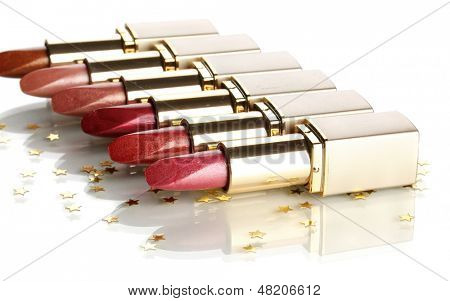Beautiful lipsticks, isolated on white