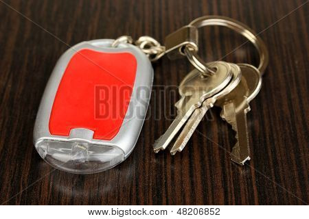 House keys and keychain on wooden background